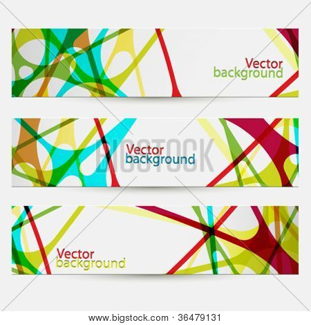 Set of three colorful abstract banners