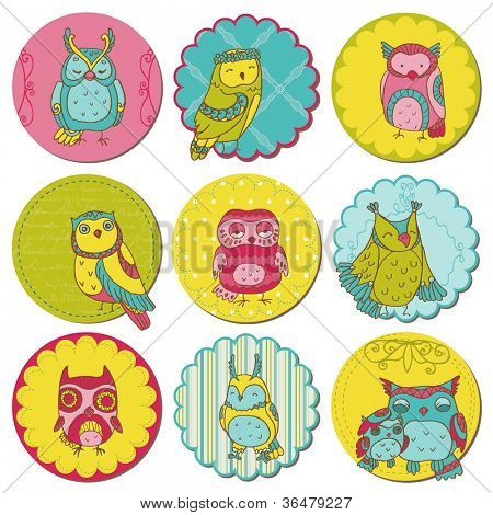Scrapbook Design Elements - Tags with Cute Owls - in vector