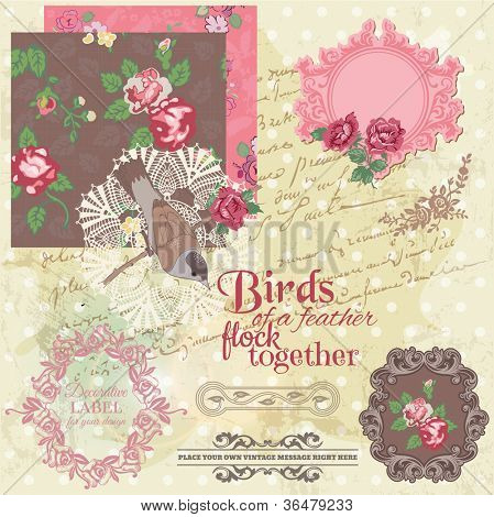 Scrapbook Design Elements - Vintage Flowers and Birds- in vector