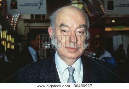 BLACKPOOL, ENGLAND - OCTOBER 10: Rt.Hon. Sir Rhodes Boyson, Conservative party Member of Parliament for Brent North, attends the party conference on October 10, 1989 in Blackpool, Lancashire.