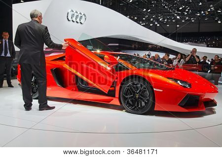 GENEVA - MARCH 8: The Lamborghini Aventador on display at the 81st International Motor Show Palexpo-Geneva on March 8; 2011 in Geneva, Switzerland.