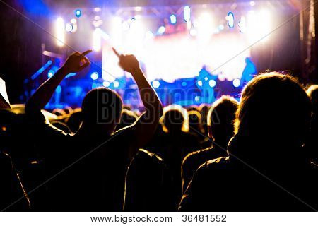Crowd of fans cheering at night concert