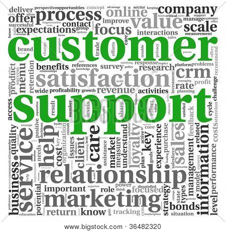 Customer support concept in word tag cloud on white