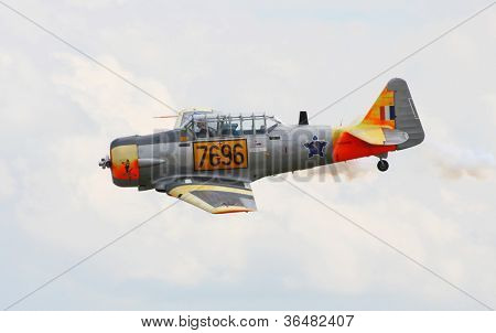 PILSEN, CZECH REPUBLIC - AUGUST 25: Historic South African Air Force training plane (SAAF) Harvard Mk.II (AT-6C-15-NT Texan), Pilsen Aeronautical Days on August 25, 2012 in Pilsen, Czech Republic.