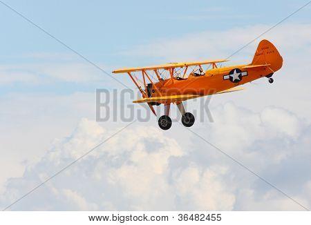 PILSEN, CZECH REPUBLIC - AUGUST 25: Historic american training biplane Boeing B 75 Stearman, Pilsen Aeronautical Days on August 25, 2012 in Pilsen, Czech Republic.