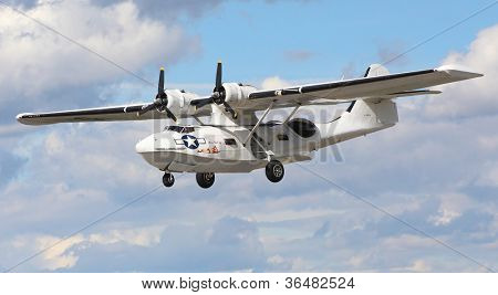 PILSEN, CZECH REPUBLIC - AUGUST 25: Most popular american rescue flying boat during second world war Consolidated PBY-5A Catalina, Pilsen Aeronautical Days on August 25, 2012 in Pilsen Czech Republic.
