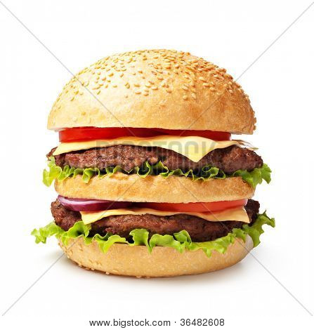 double hamburger isolated on white background
