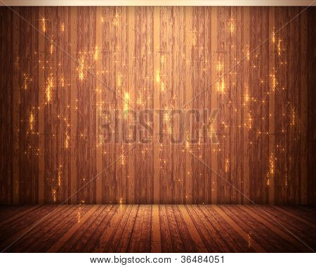 Background of brown flooring with orange illuminations