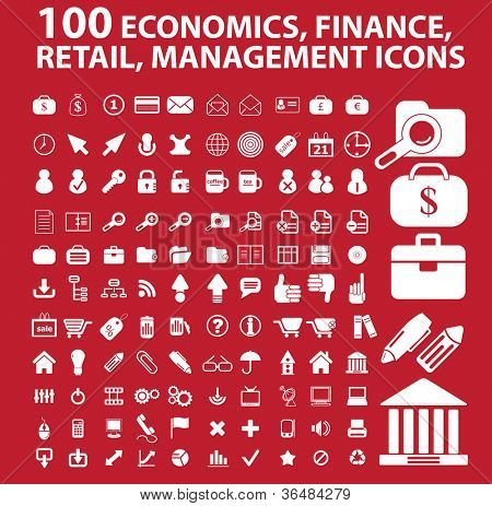 100 economics, finance, retail, management icons set, vector