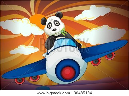 illustration of a panda flying in air plane