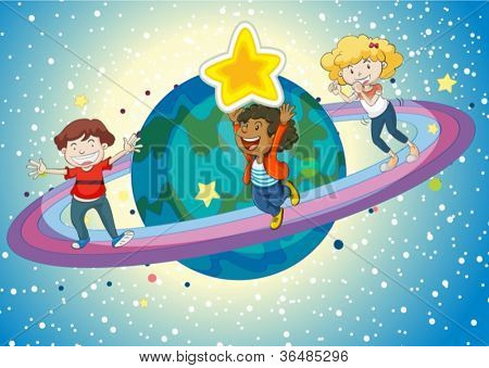 illustration of kids on planet saturn and rings