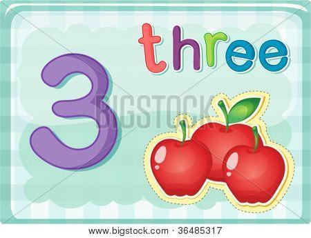 Illustrierte-Flash-Karte zeigt die Zahl 3