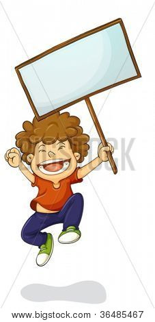 Illustration of a young kid holding a sign
