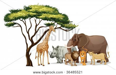 Illustration of a group of african animals