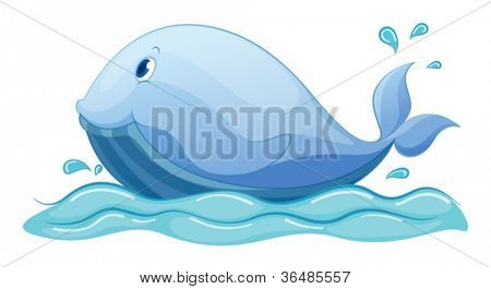 Illustration of a whale in water