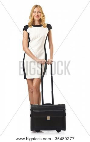 Attrative woman with suitcase on white