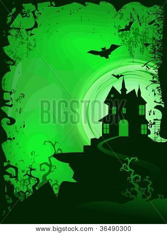 Scary Halloween background with haunted house. EPS 10.