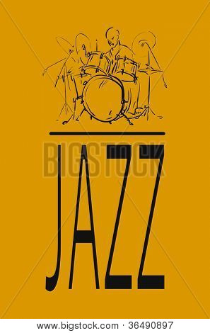 Sketch. Jazz drummer. Vector illustration.