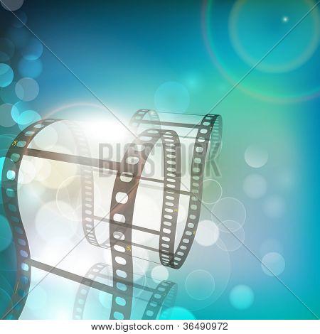 Film stripe or film reel on shiny green movie background. EPS 10