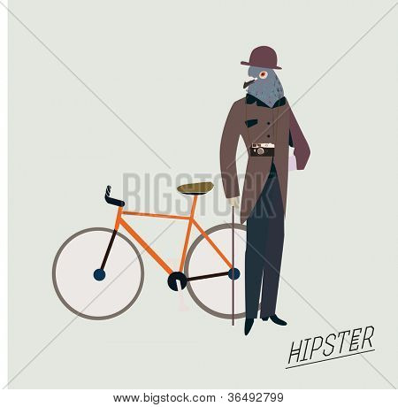 Fashionable hipster bird with a bike