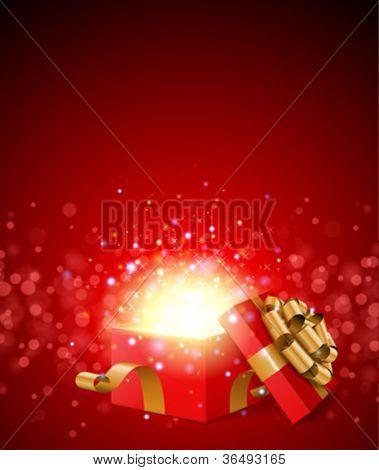 Geschenk zu öffnen und Licht Feuerwerk Weihnachten Vektor Hintergrund.