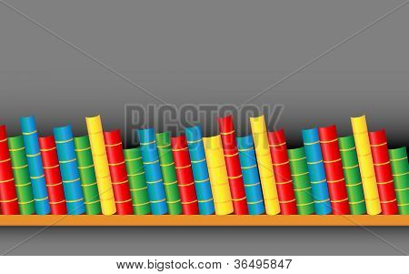 illustration of row of colorful books on shelf