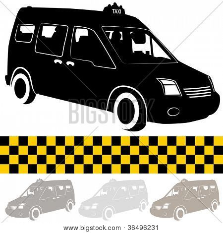 A silhouette image of a taxi shuttle van.
