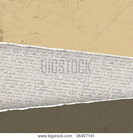 Vintage torn background with handwritings. Vector illustration, EPS10