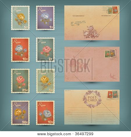 Vintage postcards and postage stamps
