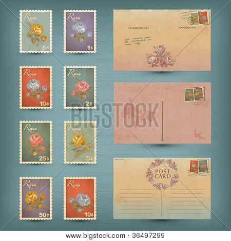 Vintage postcards and postage stamps