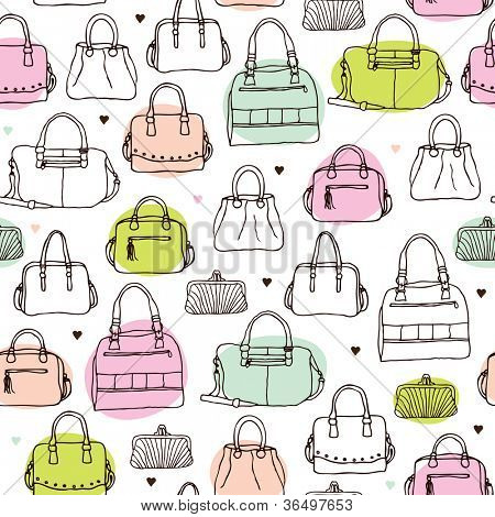 Seamless vintage fashion bag clutch and carry on background pattern in vector