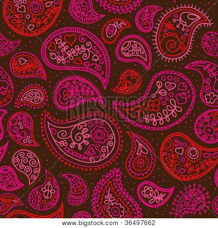 Seamless orient paisley fabric background pattern in vector