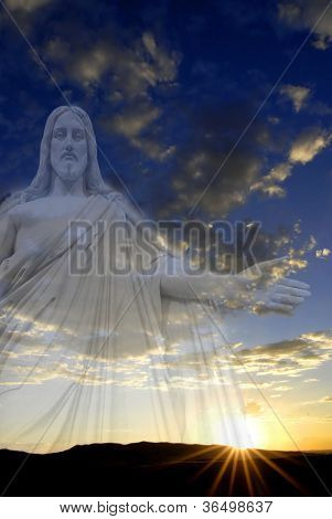 Jesus standing in white and gray storm clouds in blue sky with rays of light