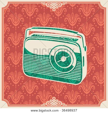Background with retro radio. Vector illustration.