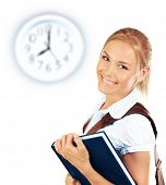 image of time study  - Portrait of beautiful happy student female - JPG