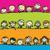 foto of peep  - Doodle borders of happy kids - JPG