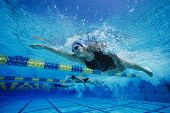 picture of gushing  - Female participants gushing through water in swimming competition - JPG