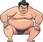 Angry cartoon sumo wrestler. Vector illustration with simple gradients. All in a single layer.