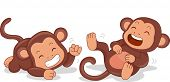 foto of terrestrial animal  - Illustration of Cute Little Monkeys Rolling on the Floor Laughing - JPG