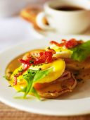 Photo of morning food, image of fried delicious egg with green salad and slice ham, picture of fresh
