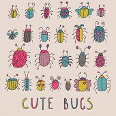 image of caterpillar cartoon  - Cute bugs - JPG