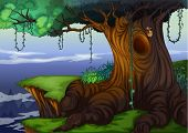 image of house woods  - Illustration of a detailed tree hollow - JPG