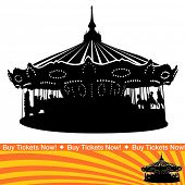 foto of carnival ride  - An image of a carousel ride silhouette - JPG