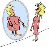 image of anorexic  - Very thin woman front of the mirror imagine herself very fat - JPG