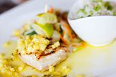 stock photo of mahi  - Close up of delicious mahi mahi fish dish - JPG