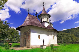 stock photo of suceava  - Church of christian orthodox monastery in Patrauti Suceava Moldova Romania oldest surviving church built in 1487 during Stephen the Great reign - JPG