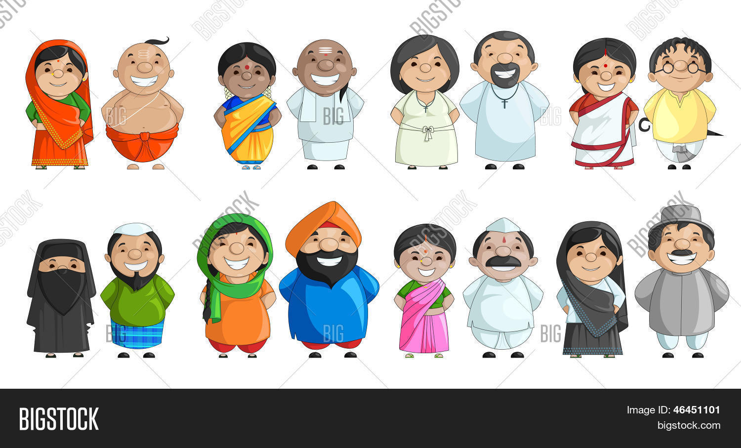 Indian Couple Different Culture Vector & Photo
