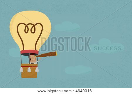 Businessman in balloon search to success , eps10 vector format