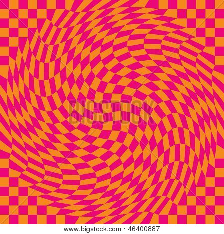 Checkerboard Warp in Pink and Orange