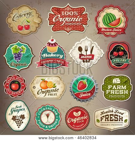 Vintage retro grunge restaurant and organic food labels, symbols and old papers elements Collection